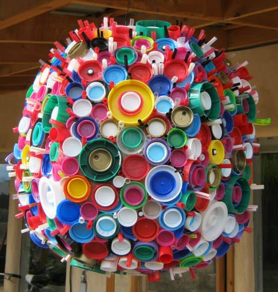 Plastic Lid Sphere Recycled Art Recycled Plastic