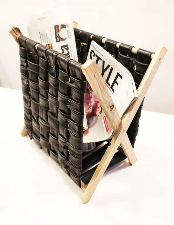 Inner Tubes Magazine Rack Recycled Furniture Upcycled Bicycle Parts