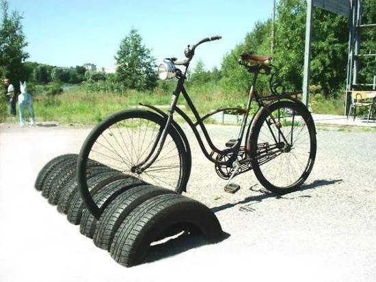 Bikestand Made of Recycled Tires Recycled Rubber Upcycled Bicycle Parts