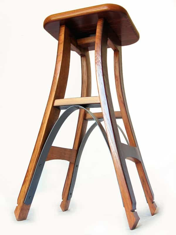Eiffel, Barstool With Recycled Oak Wine Barrel Recycled Furniture Wood & Organic