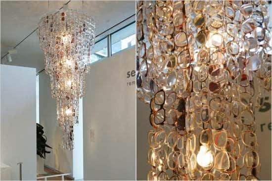 The glasses chandelier recyclart the glasses chandelier lustre lunettes aloadofball Images