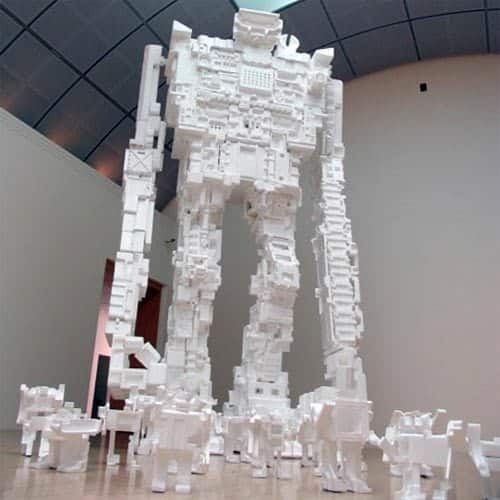 Styrofoam Robots Recycled Art Recycled Packaging