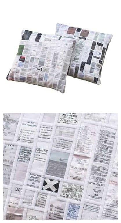 Old Labels Upcycled Into Cushion
