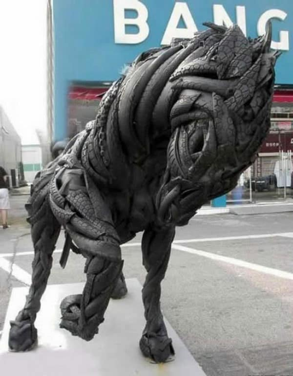 Horse Sculpture From Recycled Tires Recycled Art Recycled Rubber