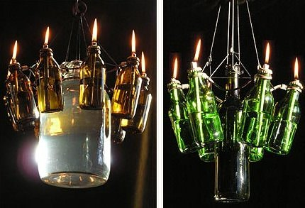 Bottles Chandelier Lamps & Lights Recycled Glass