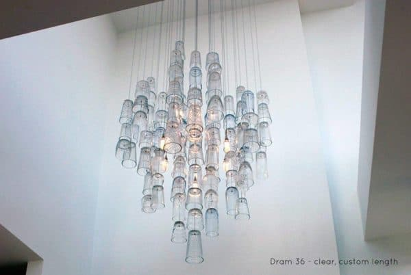 Dram glasses chandeliers recyclart custom chandelier repurposed dram clear 2 aloadofball Choice Image