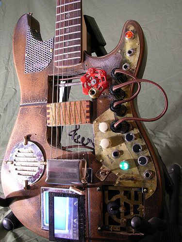 Custom Steampunk Guitar Recycled Art