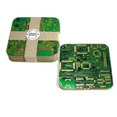 Circuit Board Coasters Recycled Electronic Waste