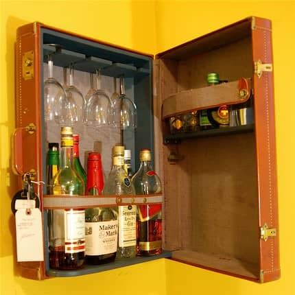 Suitcase Upcycled Into Original Bar Accessories
