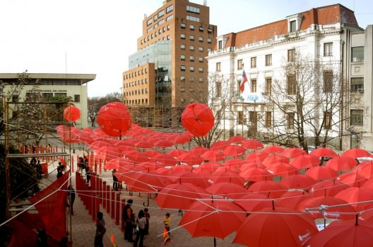 Street Covered with Umbrellas Interactive, Happening & Street Art Recycled Art
