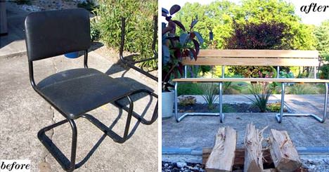 Chair to Bench Conversion Recycled Furniture Recycling Metal