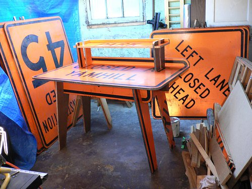 Signs Desk Recycled Furniture Wood & Organic