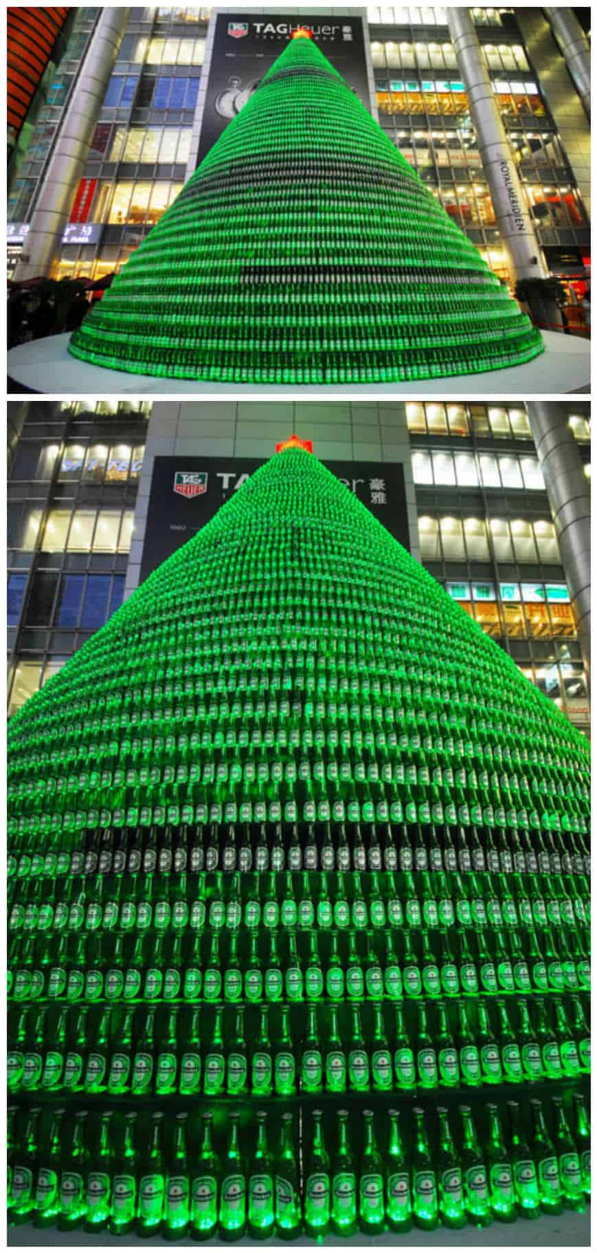 1 000 beer bottles christmas tree recyclart for How to make a beer bottle christmas tree