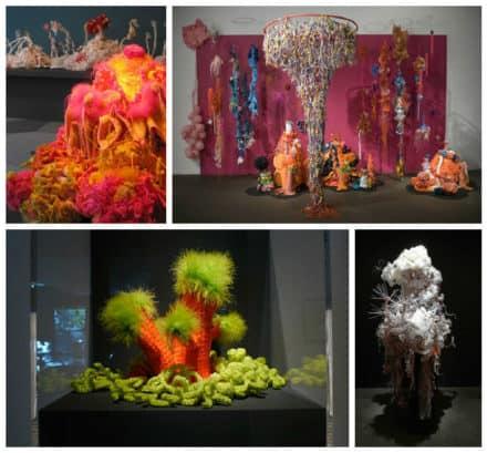 Crocheted Plastic Bag Sculptures