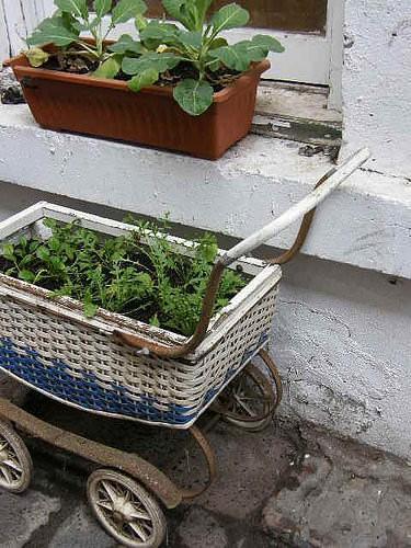 Baby Buggy Into Garden Planter
