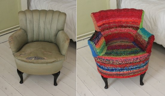 Rests Of Wool Into Armchair Slipcover Recycled Furniture