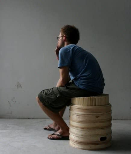 Chopsticks + Steamer Stool Recycled Furniture Wood & Organic