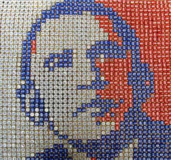 Obama Portrait Made Out Of 1600 Upcycled Bottle Caps Recycled Art Recycled Packaging Recycled Plastic
