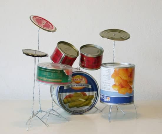 Drum Kit from Tin Cans Recycled Packaging Recycling Metal