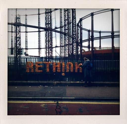 Rethink (natural message) Interactive, Happening & Street Art Recycled Art Wood & Organic