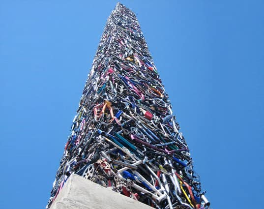 340 Bikes Obelisk Interactive, Happening & Street Art Recycled Art Upcycled Bicycle Parts
