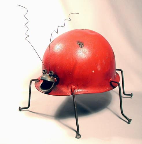 Helmet Animals Recycled Art Recycling Metal