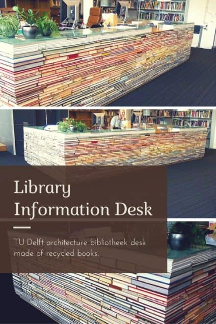 Library Information Desk Out of Recycled Books