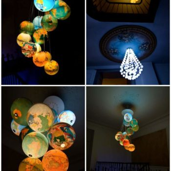World Inside Out: A Chandelier Made Out Of Recycled World Globes