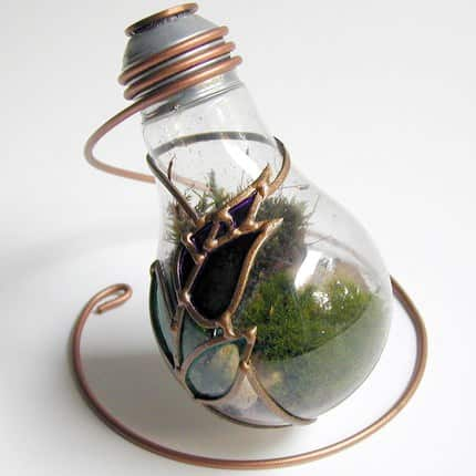 terrarium made from discarded light bulb recyclart. Black Bedroom Furniture Sets. Home Design Ideas