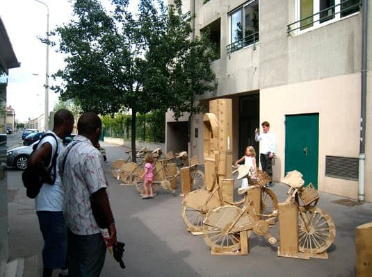 Cardboard Bike Station Interactive, Happening & Street Art Recycled Cardboard Upcycled Bicycle Parts