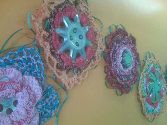 Hubcaps Crocheting Mechanic & Friends Recycled Plastic