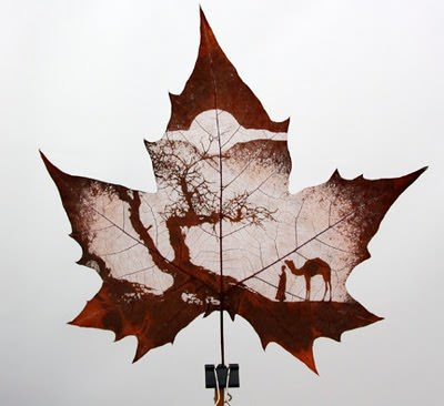 Leaf Carving Art Recycled Art Wood & Organic