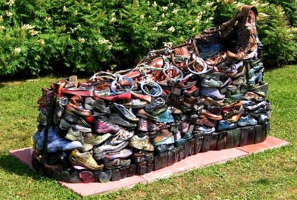 Disused Shoes Sculpture Interactive, Happening & Street Art Recycled Art