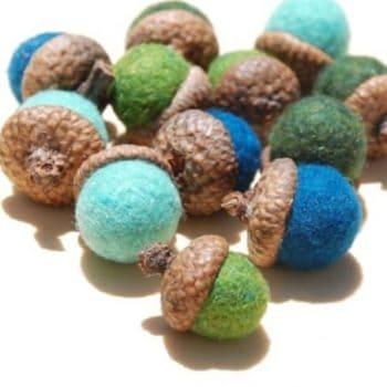 Felted wool acorns