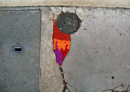 Nid De Poule Project: Paris Streets Potholes And Cracks Filled With Colorful Yarn Clothing Interactive, Happening & Street Art Recycled Art