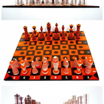 Chess Game Set Made From Shopping Cardboard Box And Bag