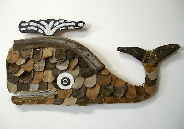 Leather Whales Recycled Art Recycled Sports Equipment