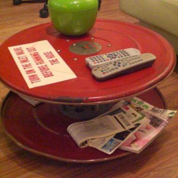 Repurposed Fire Hose Reel Coffee Table