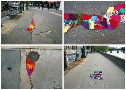 Nid De Poule Project: Paris Streets Potholes And Cracks Filled With Colorful Yarn