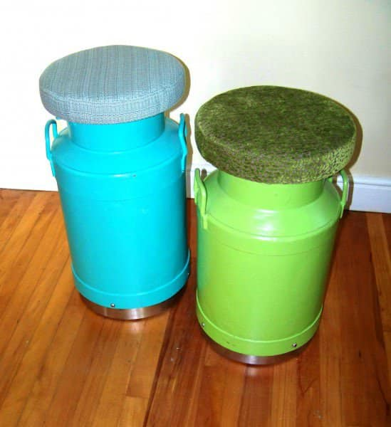 Milk Pail Stool Clothing Recycled Furniture Recycling Metal
