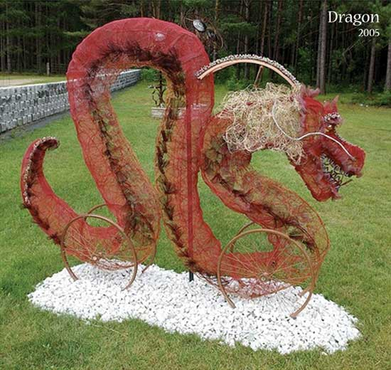 Dragon Wire Sculpture Recycled Art Recycling Metal Upcycled Bicycle Parts