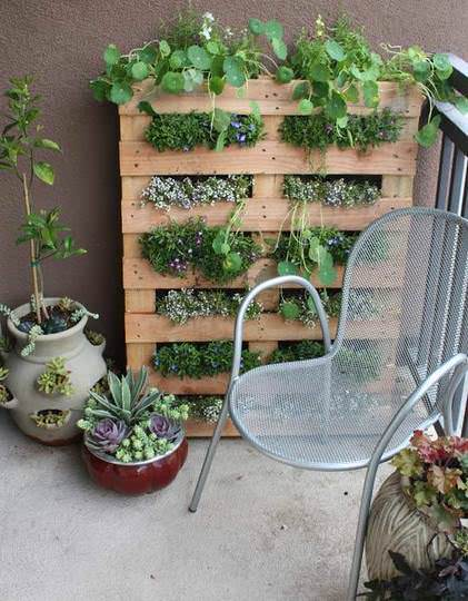 Diy: Tiny Balcony Pallet Planter Do-It-Yourself Ideas Recycled Pallets
