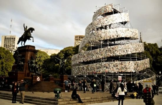 Tower of 30,000 Books Recycled Art Recycling Paper & Books