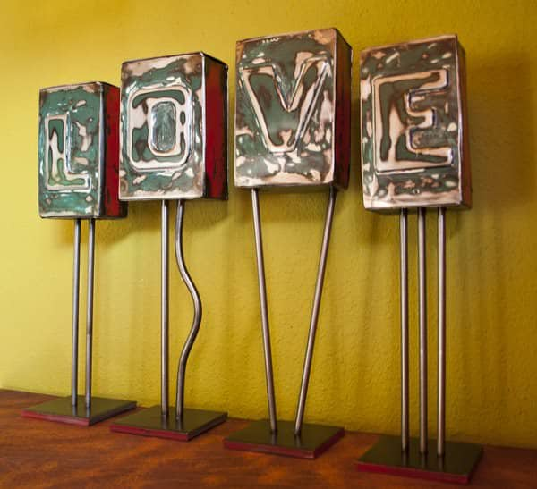 Tailgate Letter Blocks Mechanic & Friends Recycled Art Recycling Metal