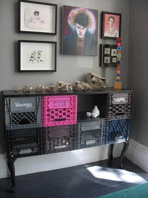 Crates Cabinet Do-It-Yourself Ideas Recycled Furniture Recycled Plastic