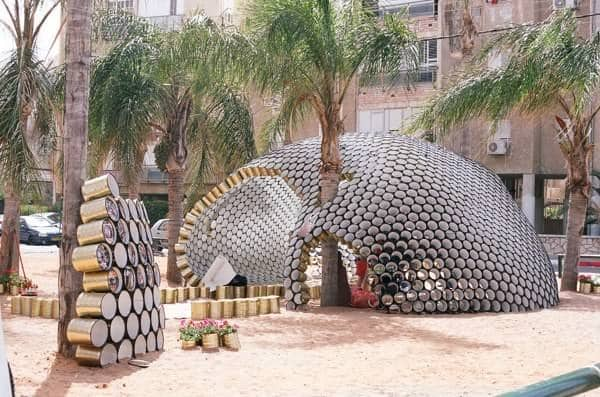 Bat-yam Cans Pavilion Home Improvement Interactive, Happening & Street Art Recycled Packaging Recycling Metal