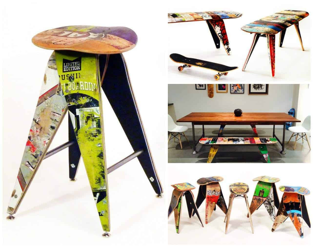 Do It Yourself Home Design: Skateboard Decks Upcycled Into Benches & Stools • Recyclart