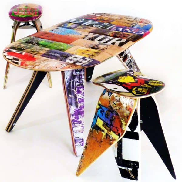 Skateboard Decks Upcycled Into Benches & Stools Recycled Furniture Recycled Sports Equipment