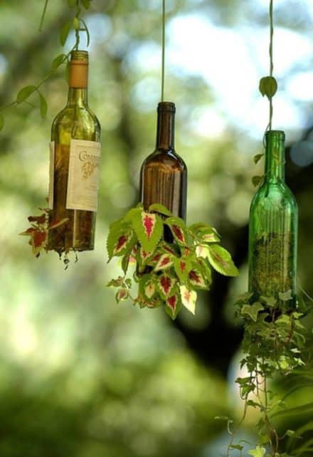 Planter Using Upcycled Wine Bottles