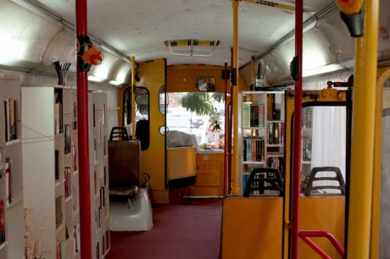Bus Transformed Into Public Library Interactive, Happening & Street Art Mechanic & Friends